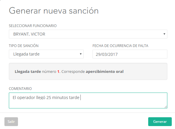 Captura de creación de sanción disciplinaria para un agente de Call Center